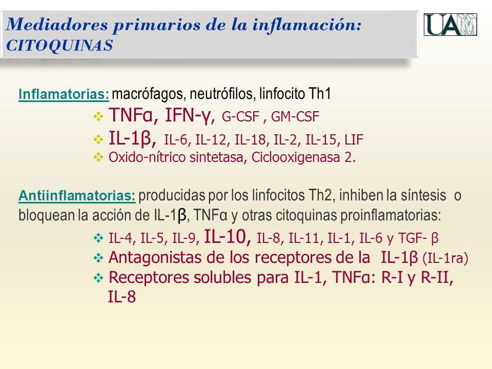 Mediadores primarios de la inflamación: CITOQUINAS