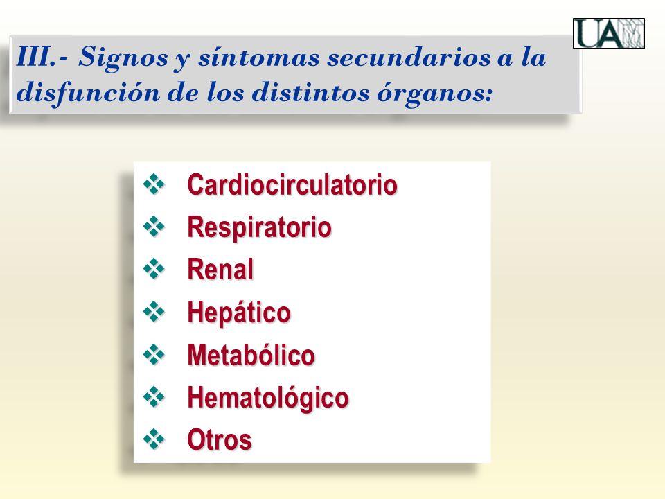 III.- Signos y síntomas secundarios a la disfunción de los distintos órganos: