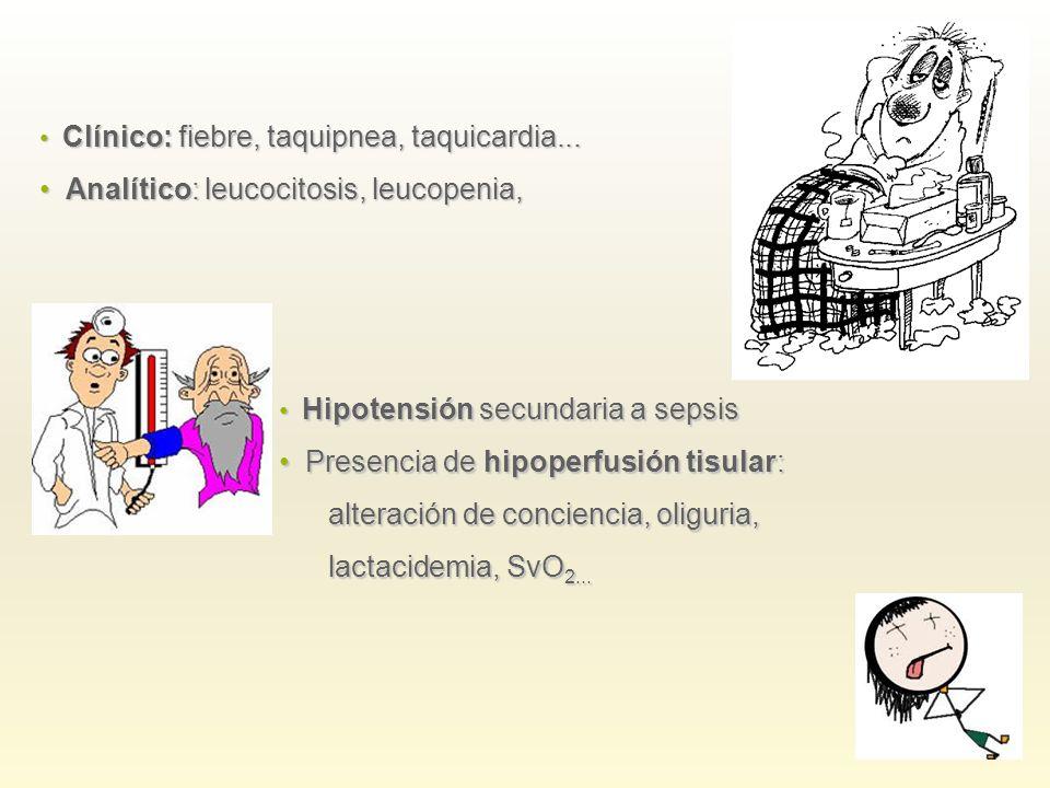 Analítico: leucocitosis, leucopenia,