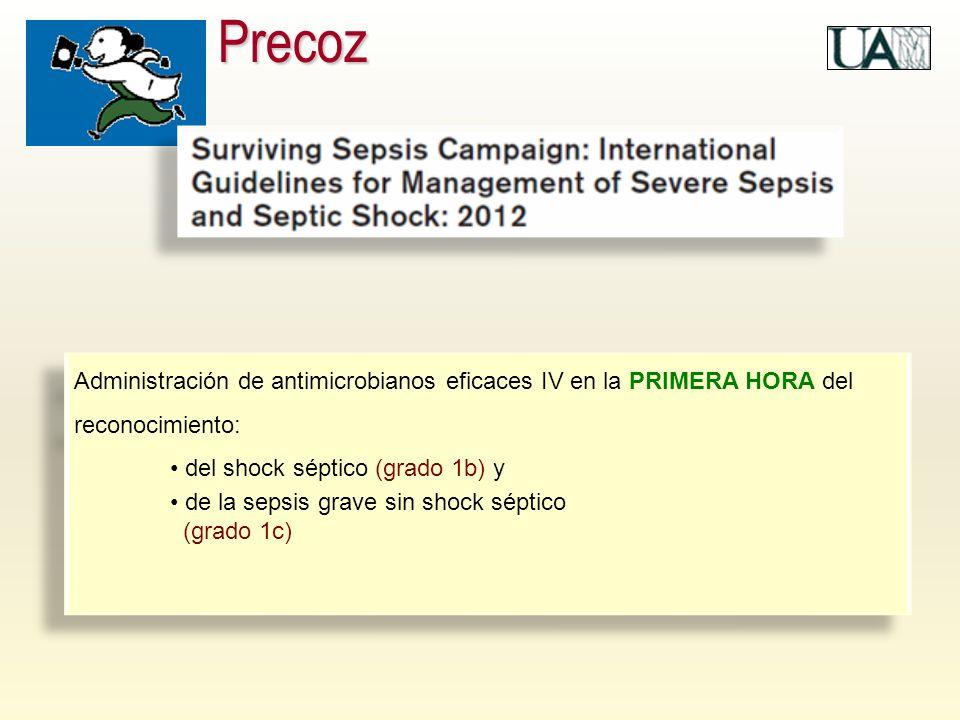 Precoz Administración de antimicrobianos eficaces IV en la PRIMERA HORA del reconocimiento: del shock séptico (grado 1b) y.