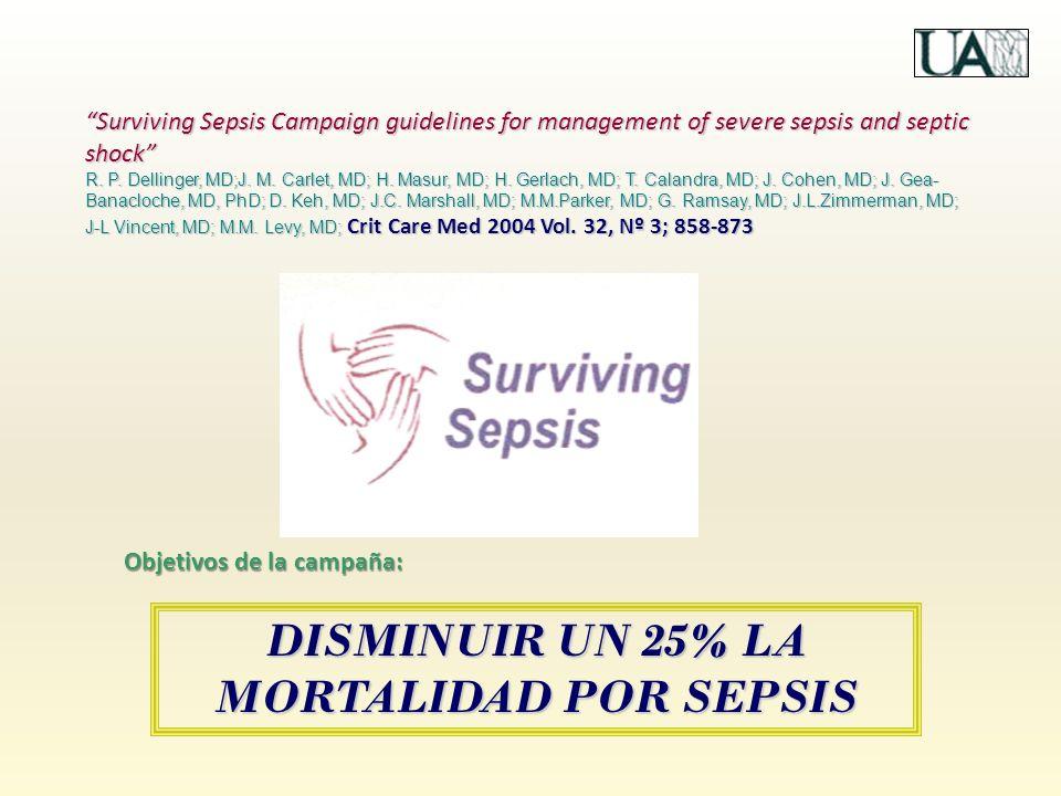 DISMINUIR UN 25% LA MORTALIDAD POR SEPSIS