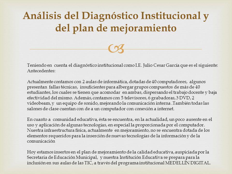 Análisis del Diagnóstico Institucional y del plan de mejoramiento
