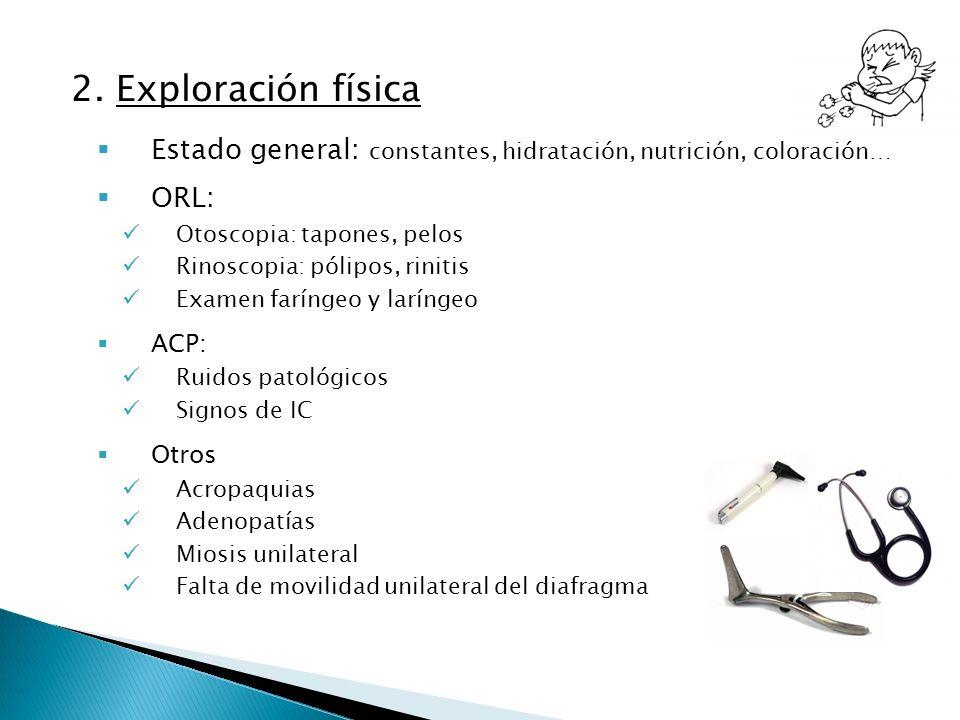 2. Exploración física Estado general: constantes, hidratación, nutrición, coloración… ORL: Otoscopia: tapones, pelos.