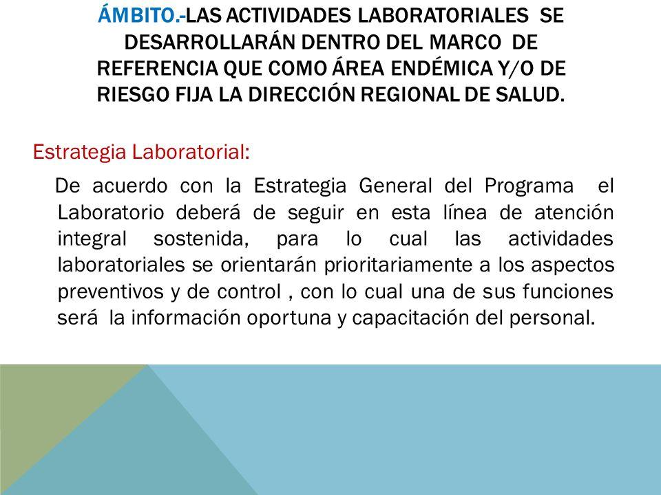 Ámbito.-Las actividades Laboratoriales se desarrollarán dentro del marco de referencia que como área endémica y/o de riesgo fija la Dirección Regional de Salud.