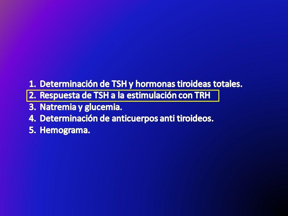 Determinación de TSH y hormonas tiroideas totales.