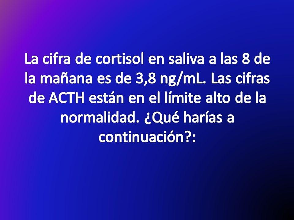 La cifra de cortisol en saliva a las 8 de la mañana es de 3,8 ng/mL