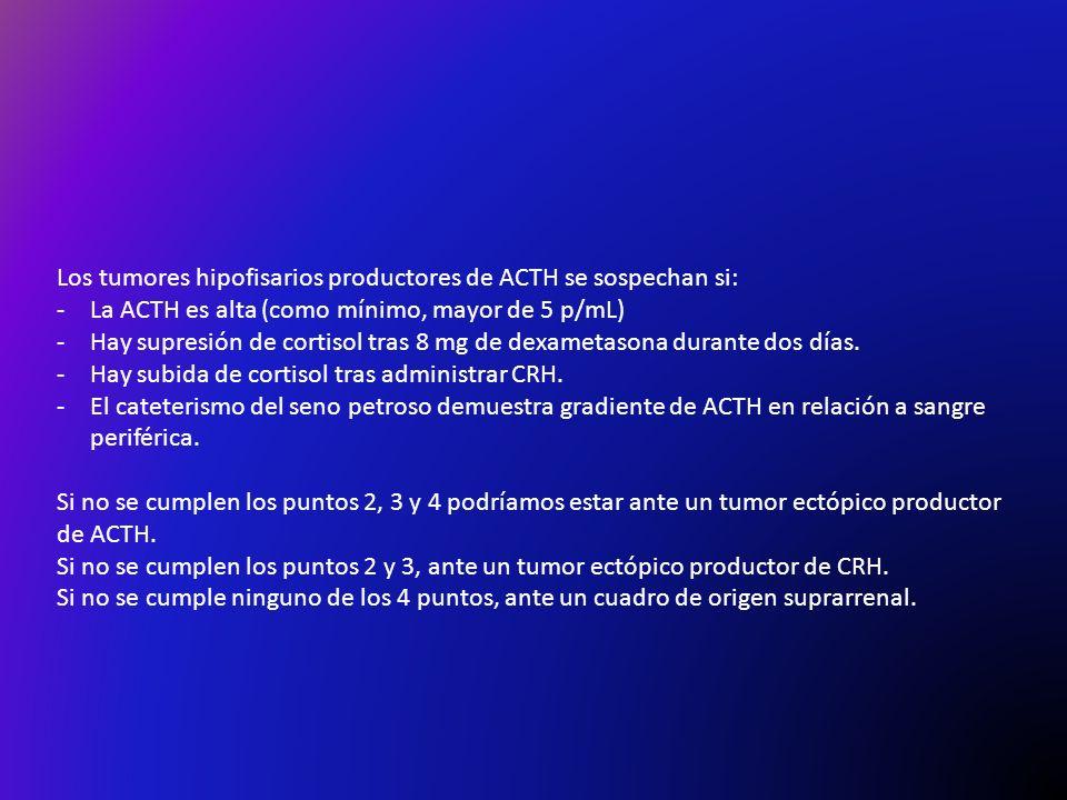 Los tumores hipofisarios productores de ACTH se sospechan si: