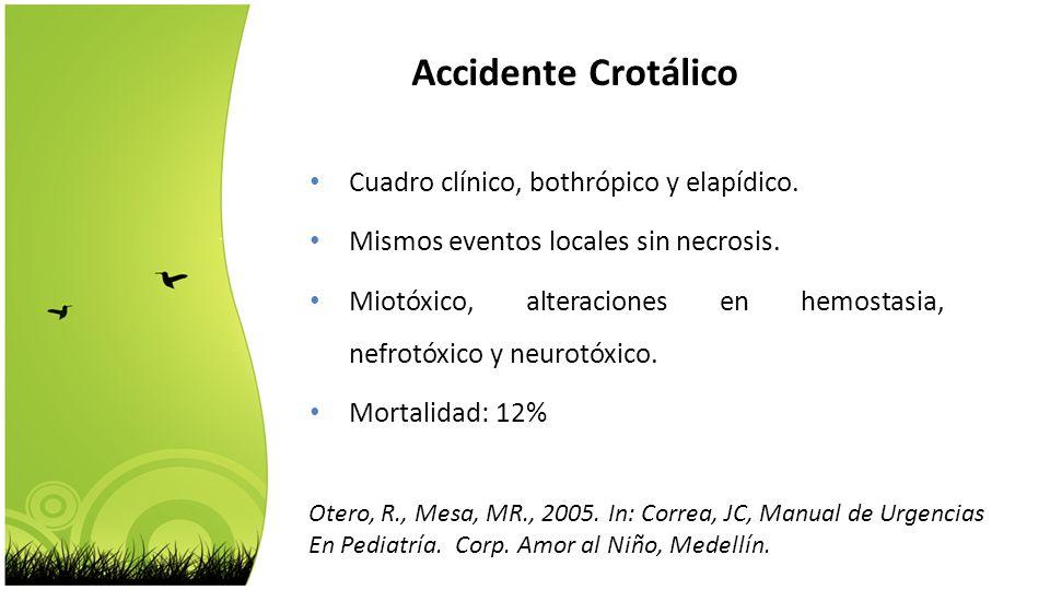 Accidente Crotálico Cuadro clínico, bothrópico y elapídico.