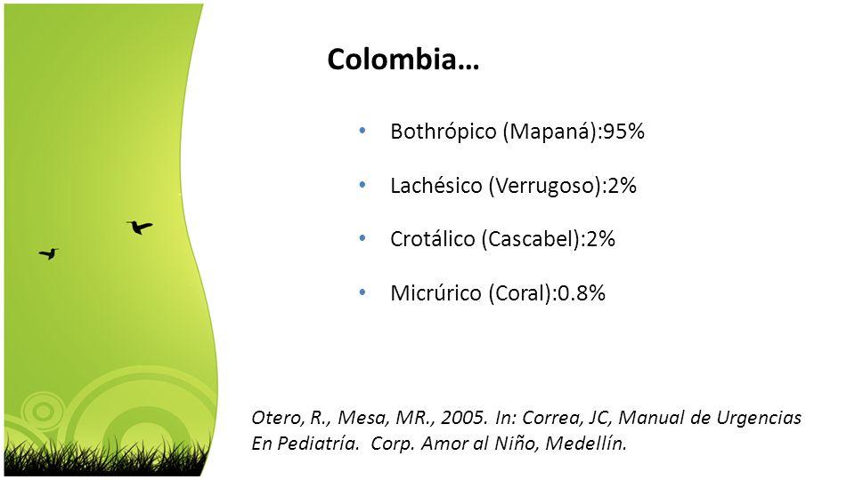 Colombia… Bothrópico (Mapaná):95% Lachésico (Verrugoso):2%