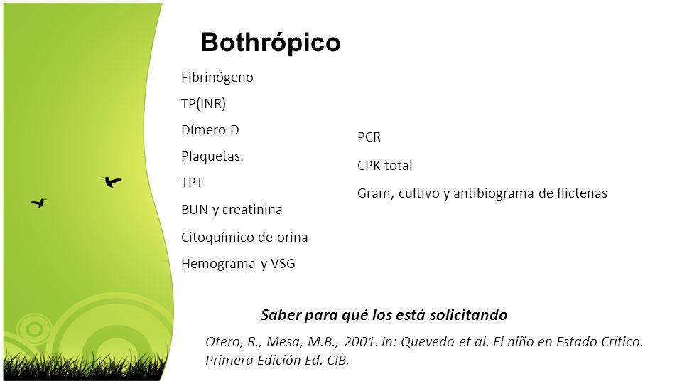 Bothrópico Saber para qué los está solicitando Fibrinógeno TP(INR)