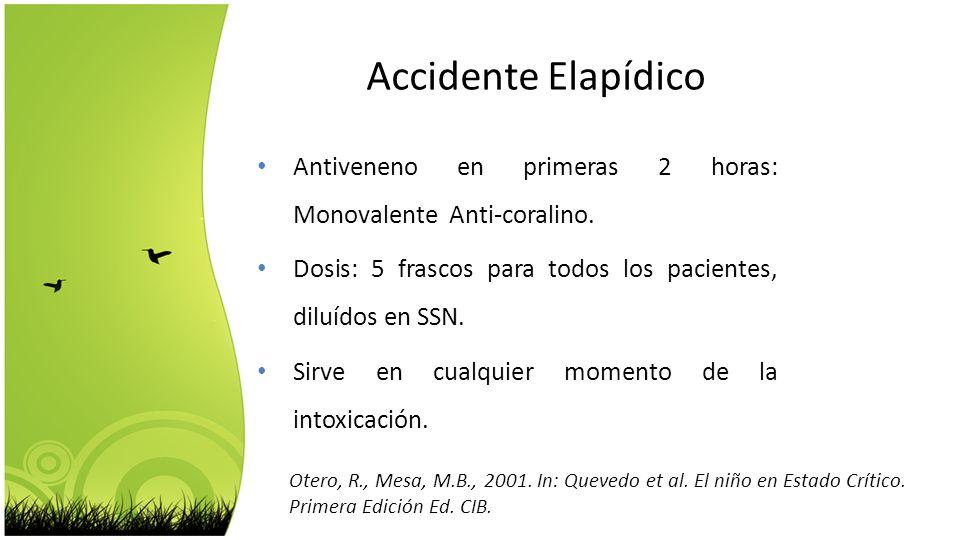 Accidente Elapídico Antiveneno en primeras 2 horas: Monovalente Anti-coralino. Dosis: 5 frascos para todos los pacientes, diluídos en SSN.
