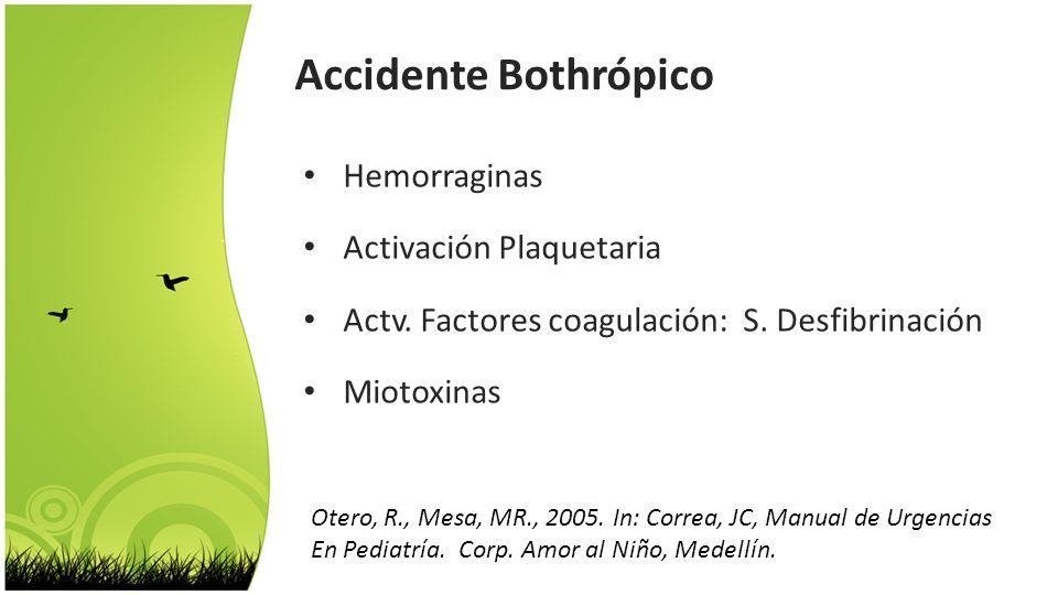 Accidente Bothrópico Hemorraginas Activación Plaquetaria