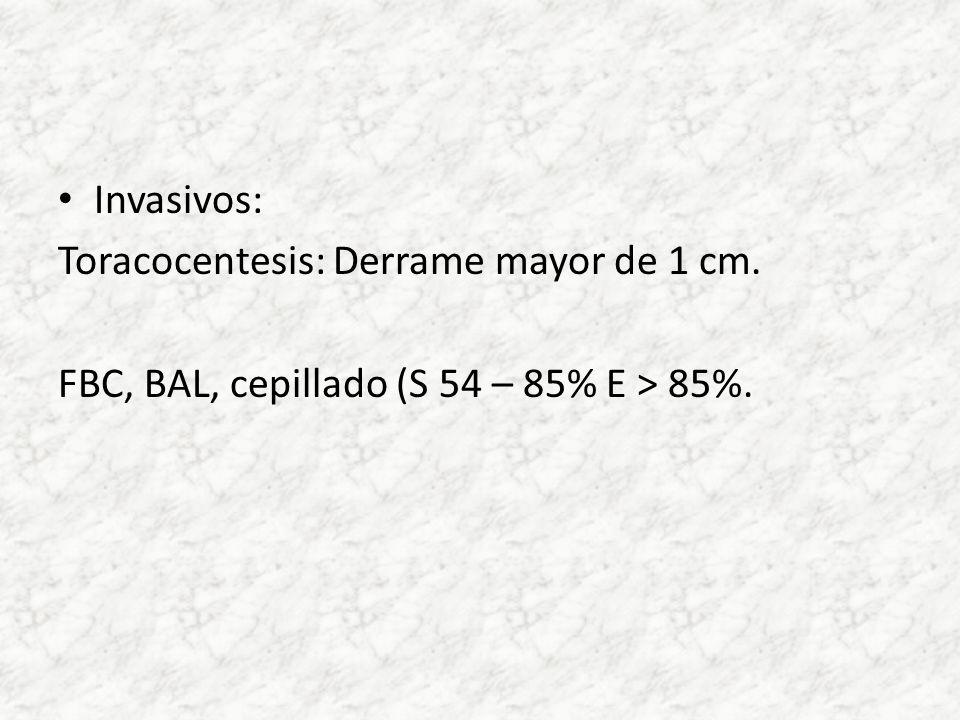 Invasivos: Toracocentesis: Derrame mayor de 1 cm. FBC, BAL, cepillado (S 54 – 85% E > 85%.