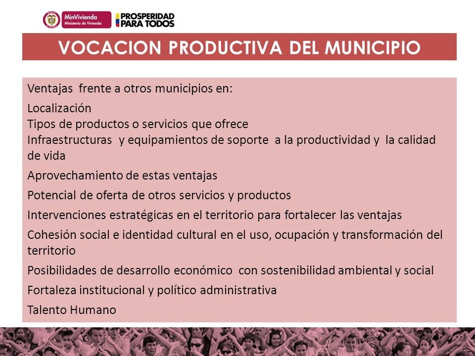 VOCACION PRODUCTIVA DEL MUNICIPIO
