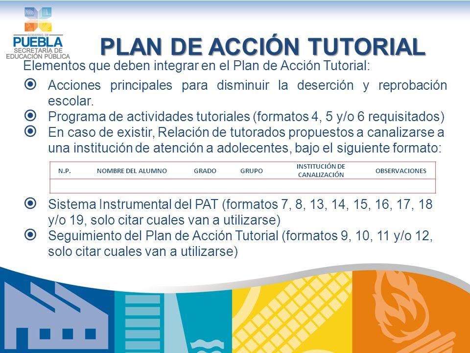 PLAN DE ACCIÓN TUTORIAL INSTITUCIÓN DE CANALIZACIÓN