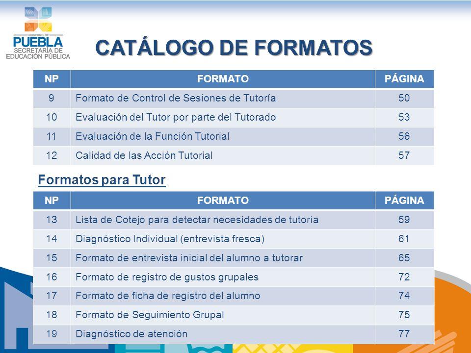 CATÁLOGO DE FORMATOS Formatos para Tutor NP FORMATO PÁGINA 9