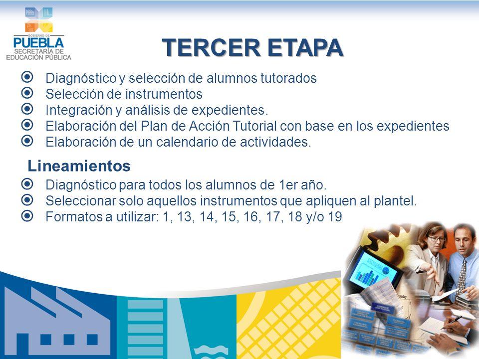 TERCER ETAPA Lineamientos Diagnóstico y selección de alumnos tutorados
