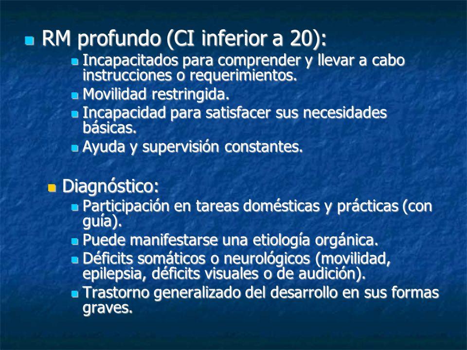 RM profundo (CI inferior a 20):