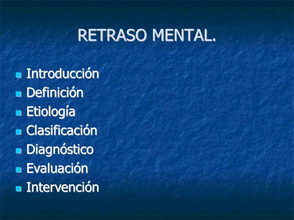 RETRASO MENTAL. Introducción Definición Etiología Clasificación