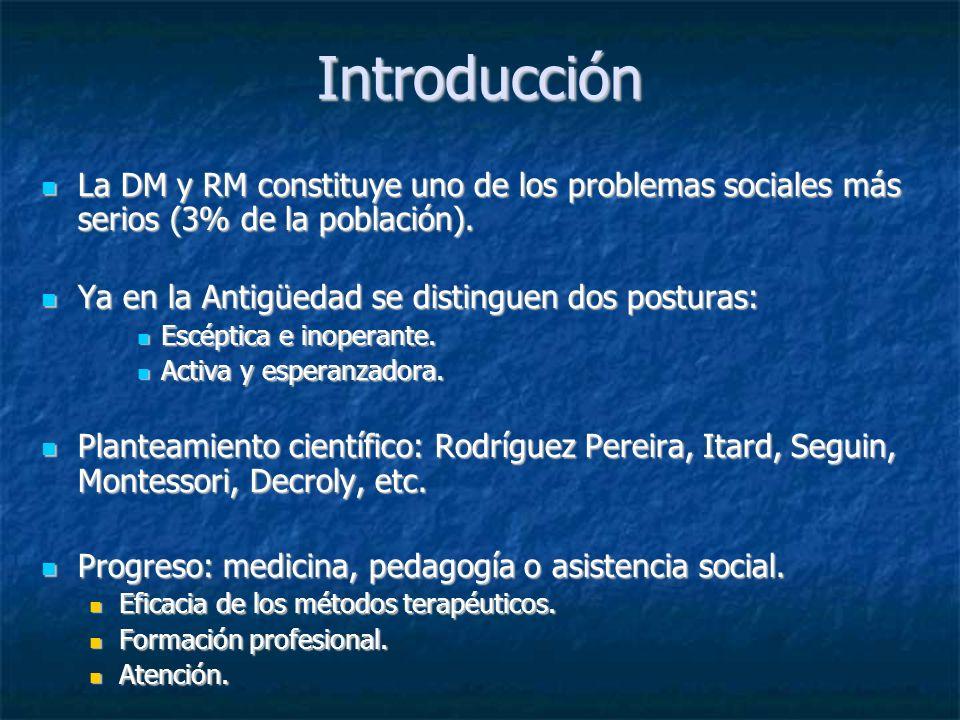 Introducción La DM y RM constituye uno de los problemas sociales más serios (3% de la población). Ya en la Antigüedad se distinguen dos posturas: