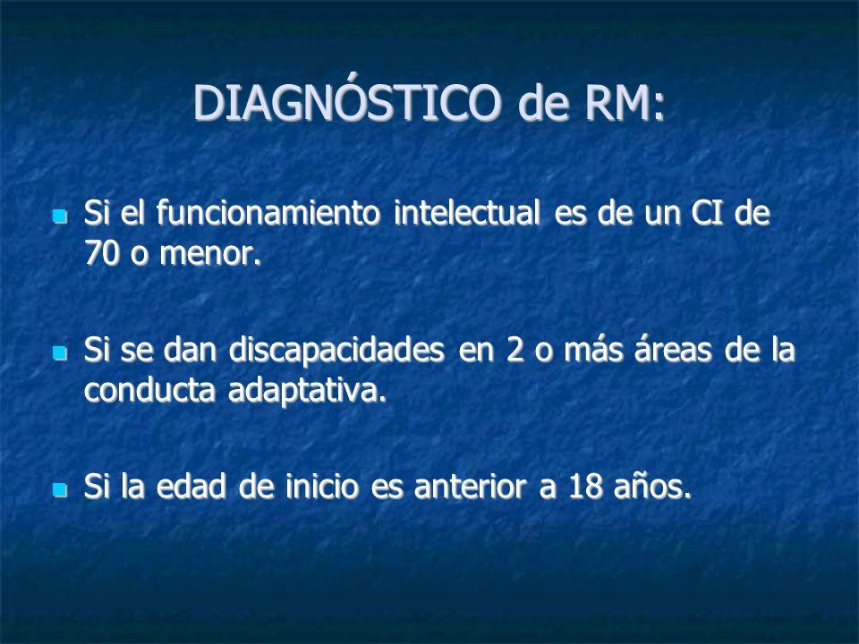 DIAGNÓSTICO de RM: Si el funcionamiento intelectual es de un CI de 70 o menor.