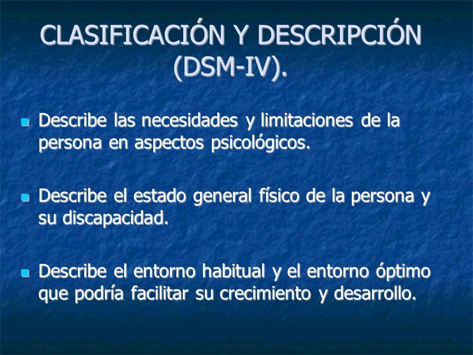 CLASIFICACIÓN Y DESCRIPCIÓN (DSM-IV).