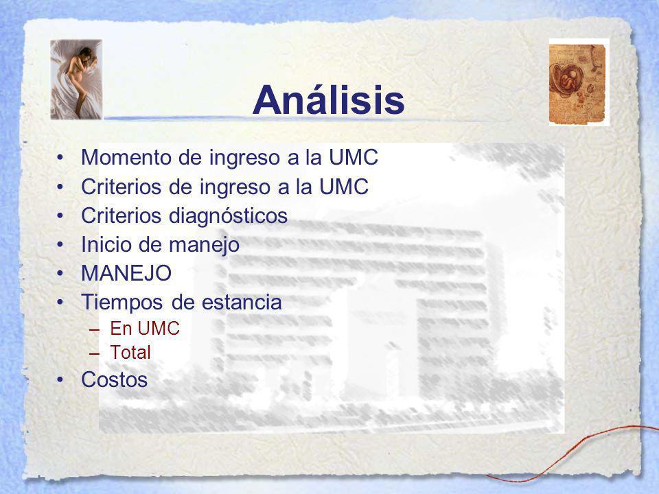 Análisis Momento de ingreso a la UMC Criterios de ingreso a la UMC