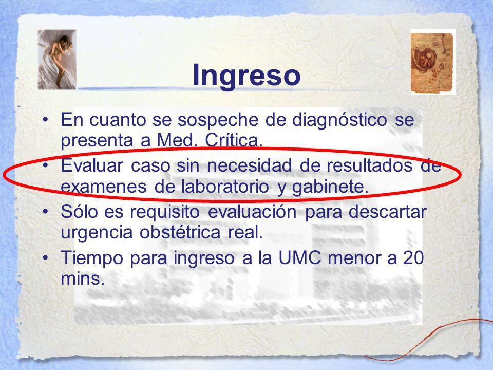 Ingreso En cuanto se sospeche de diagnóstico se presenta a Med. Crítica.