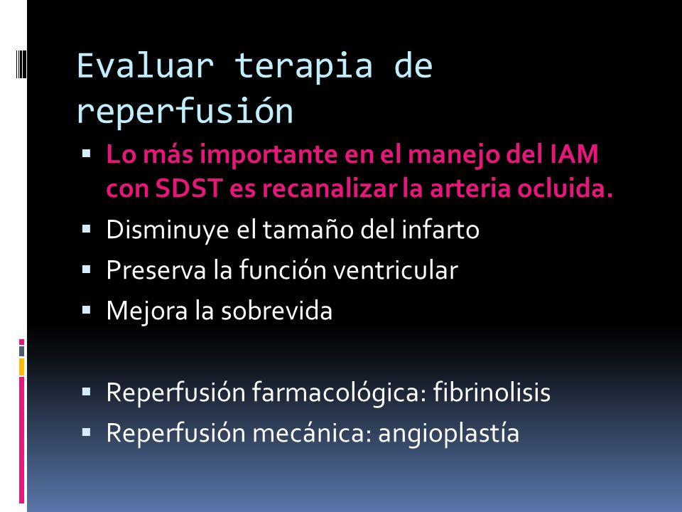 Evaluar terapia de reperfusión