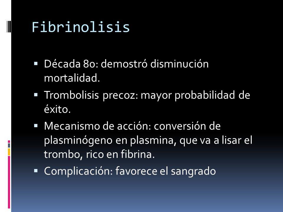 Fibrinolisis Década 80: demostró disminución mortalidad.