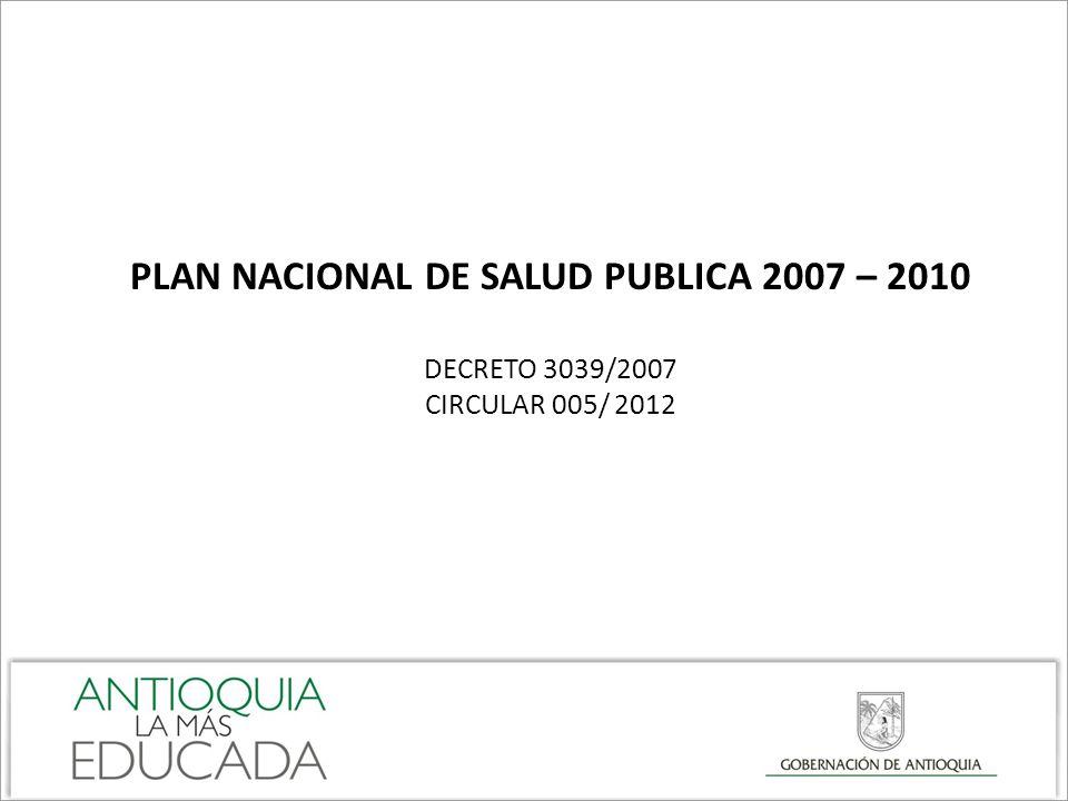 PLAN NACIONAL DE SALUD PUBLICA 2007 – 2010
