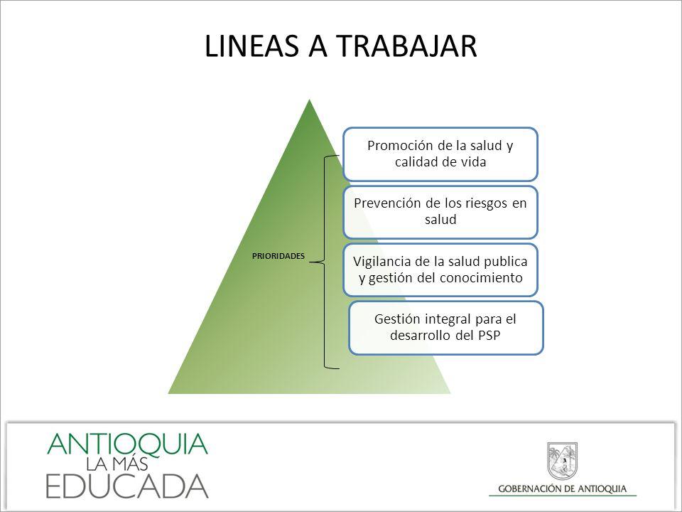 LINEAS A TRABAJAR PRIORIDADES Promoción de la salud y calidad de vida