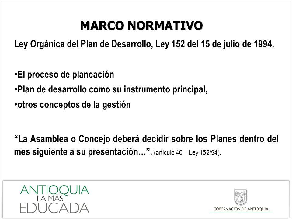 MARCO NORMATIVO Ley Orgánica del Plan de Desarrollo, Ley 152 del 15 de julio de 1994. El proceso de planeación.