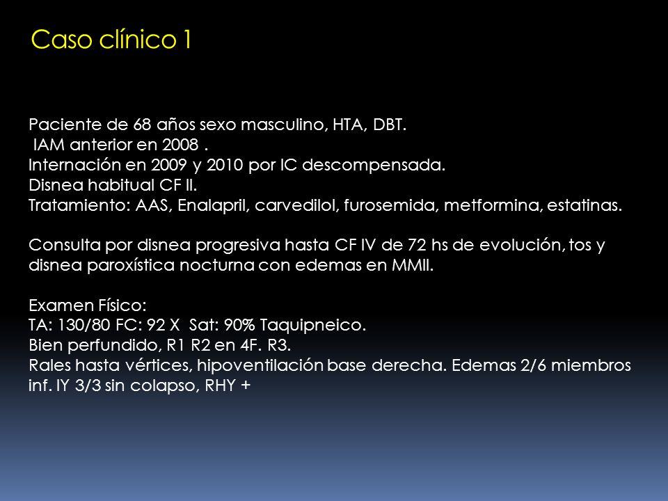 Caso clínico 1 Paciente de 68 años sexo masculino, HTA, DBT.