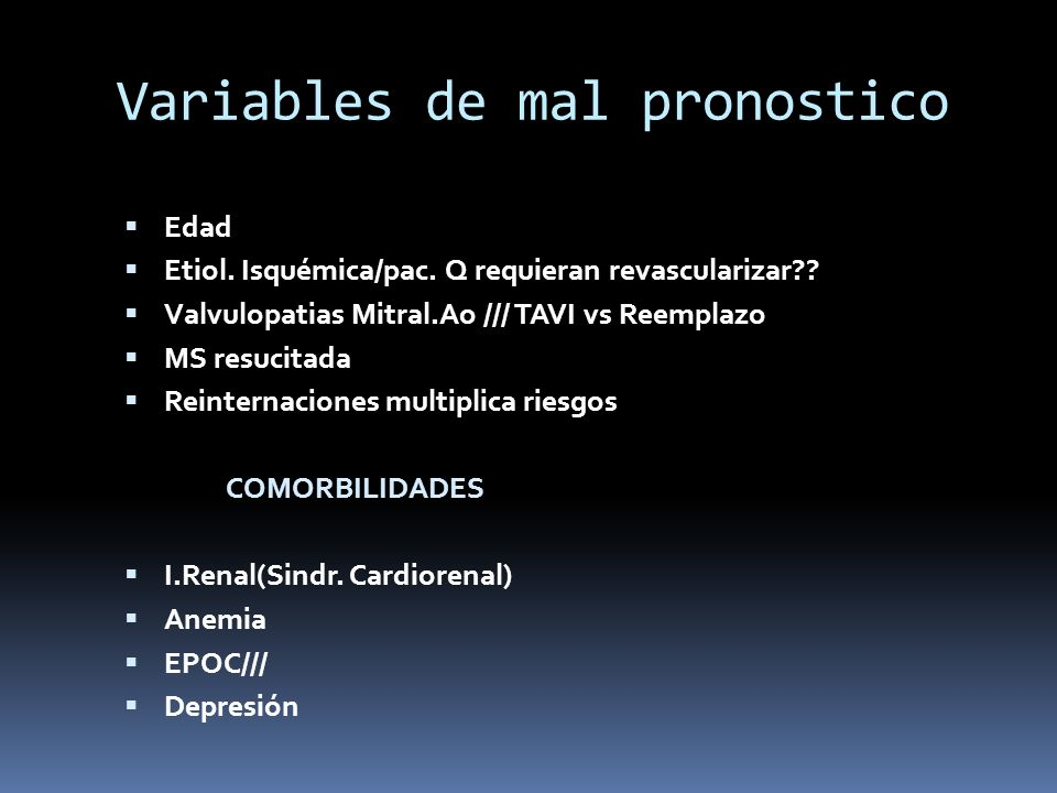 Variables de mal pronostico