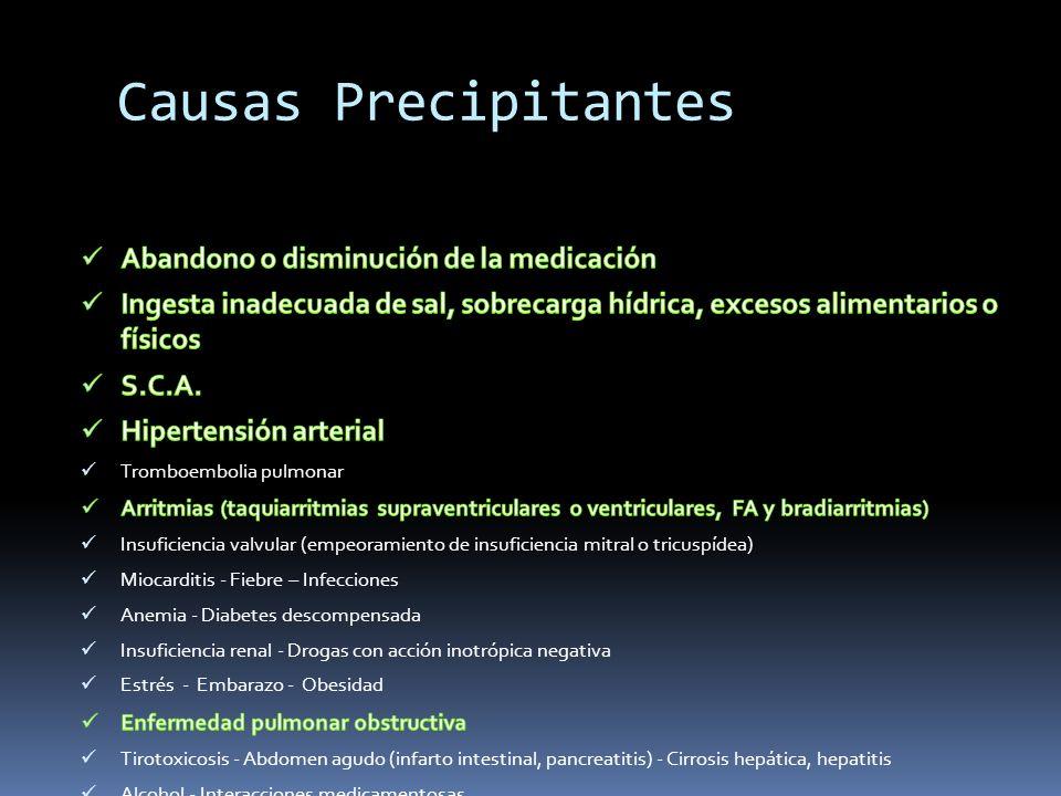 Causas Precipitantes Abandono o disminución de la medicación