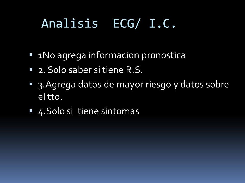 Analisis ECG/ I.C. 1No agrega informacion pronostica