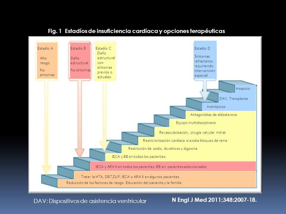 Fig. 1 Estadíos de insuficiencia cardíaca y opciones terapéuticas