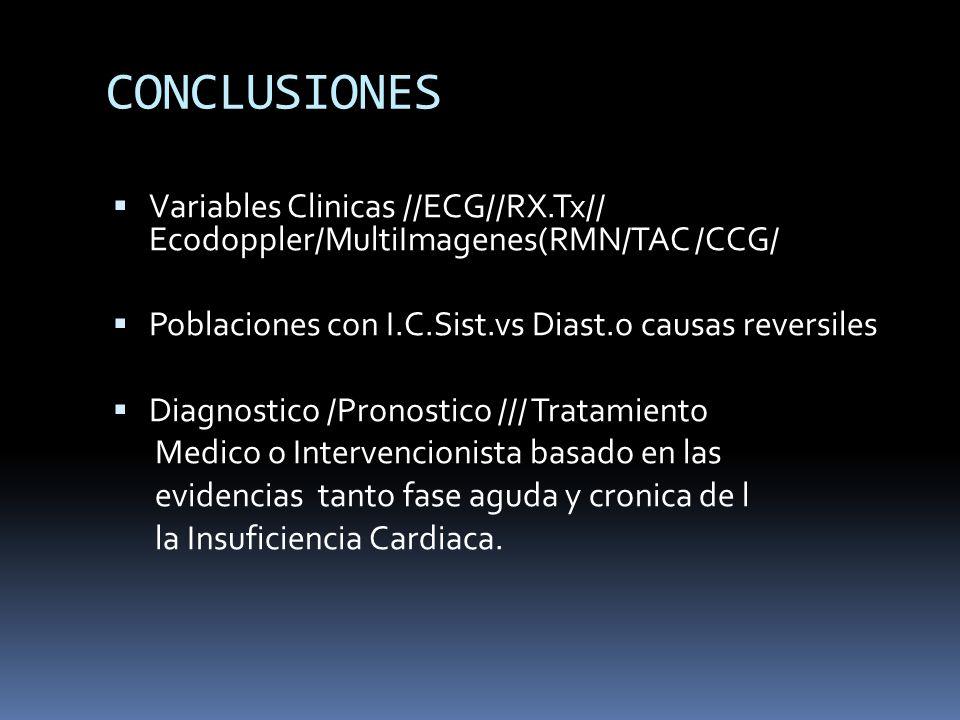 CONCLUSIONES Variables Clinicas //ECG//RX.Tx// Ecodoppler/MultiImagenes(RMN/TAC /CCG/ Poblaciones con I.C.Sist.vs Diast.o causas reversiles.