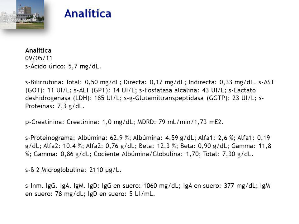 Analítica Analítica 09/05/11 s-Ácido úrico: 5,7 mg/dL.