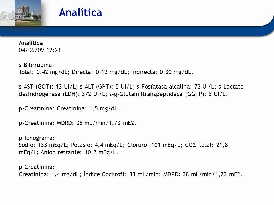 Analítica Analítica 04/06/09 12:21 s-Bilirrubina: