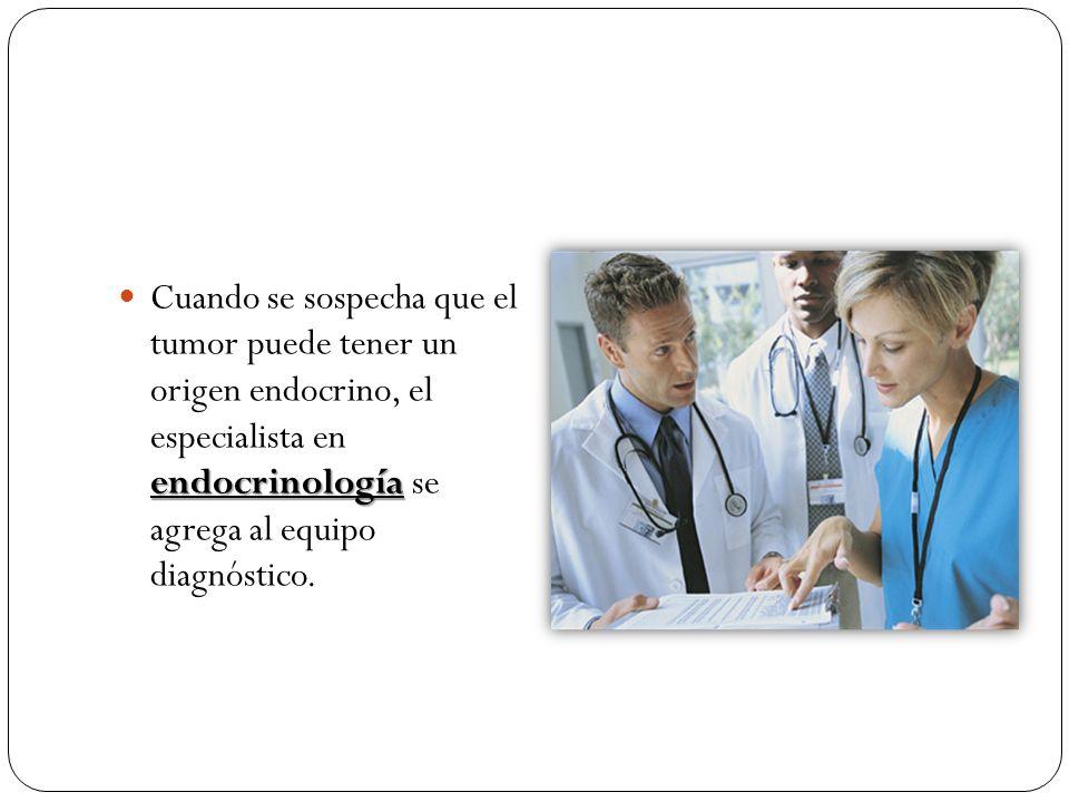 Cuando se sospecha que el tumor puede tener un origen endocrino, el especialista en endocrinología se agrega al equipo diagnóstico.
