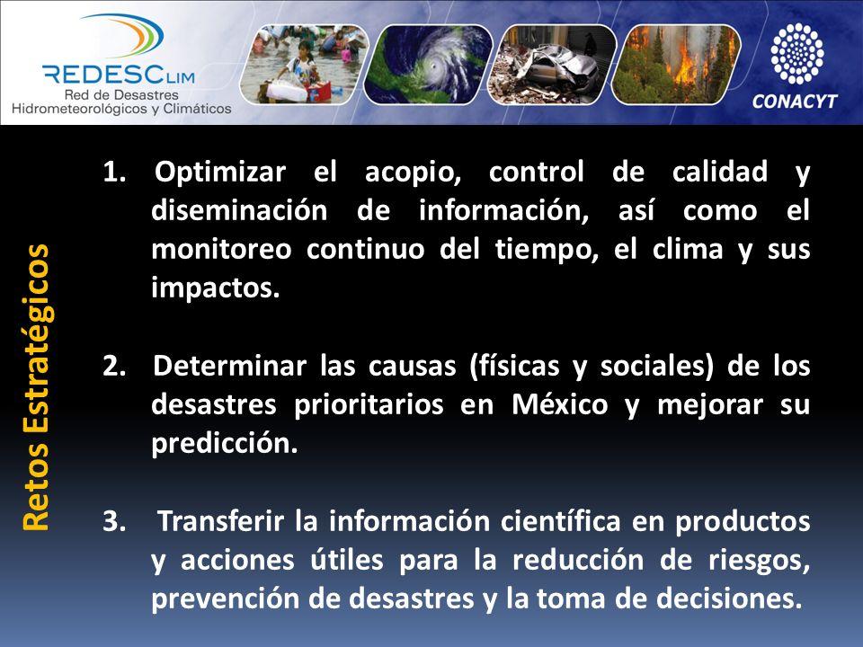 1. Optimizar el acopio, control de calidad y diseminación de información, así como el monitoreo continuo del tiempo, el clima y sus impactos.