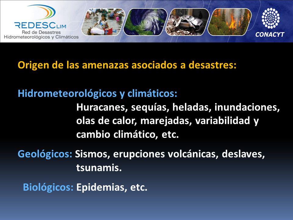 Origen de las amenazas asociados a desastres: