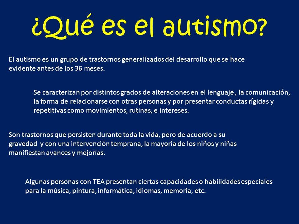 ¿Qué es el autismo El autismo es un grupo de trastornos generalizados del desarrollo que se hace evidente antes de los 36 meses.