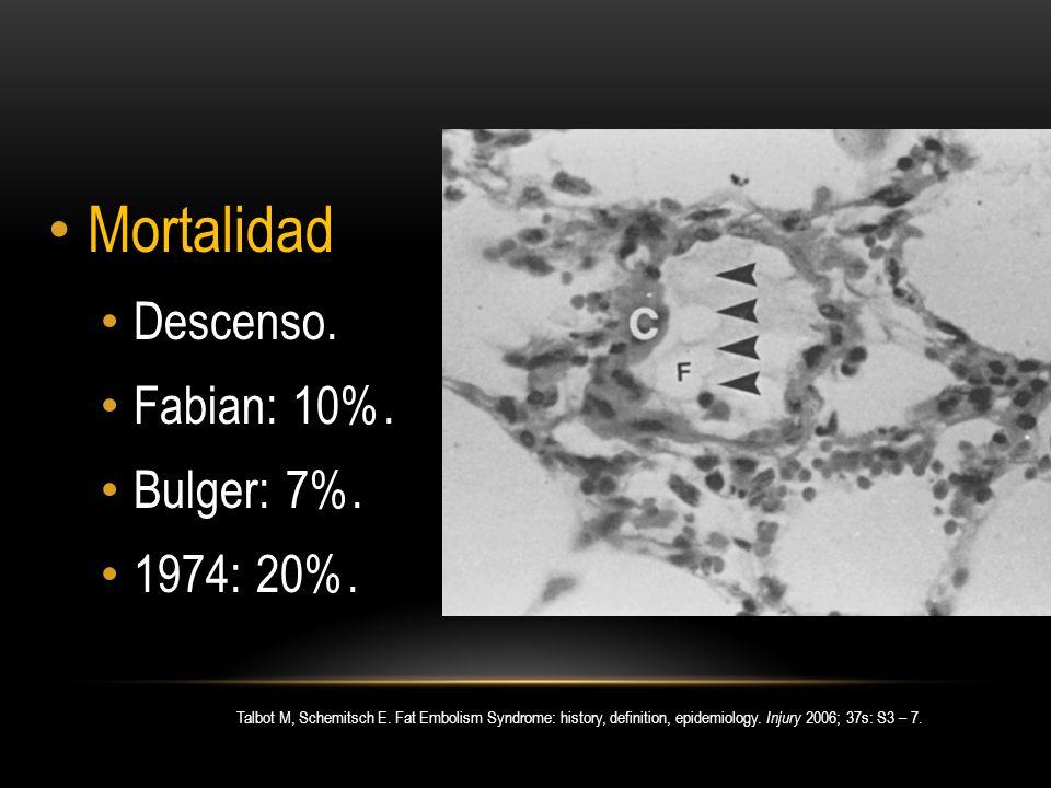 Mortalidad Descenso. Fabian: 10%. Bulger: 7%. 1974: 20%.