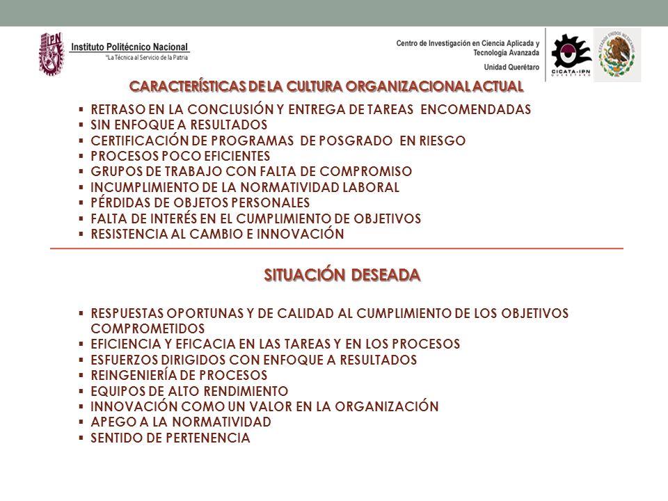 CARACTERÍSTICAS DE LA CULTURA ORGANIZACIONAL ACTUAL