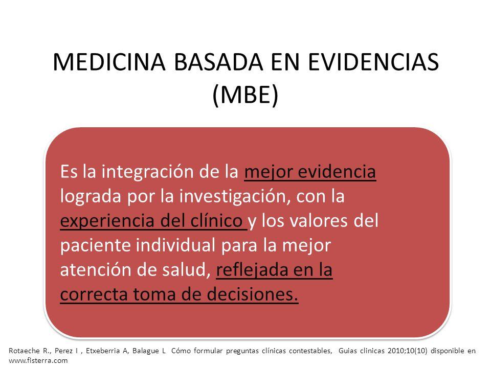 MEDICINA BASADA EN EVIDENCIAS (MBE)