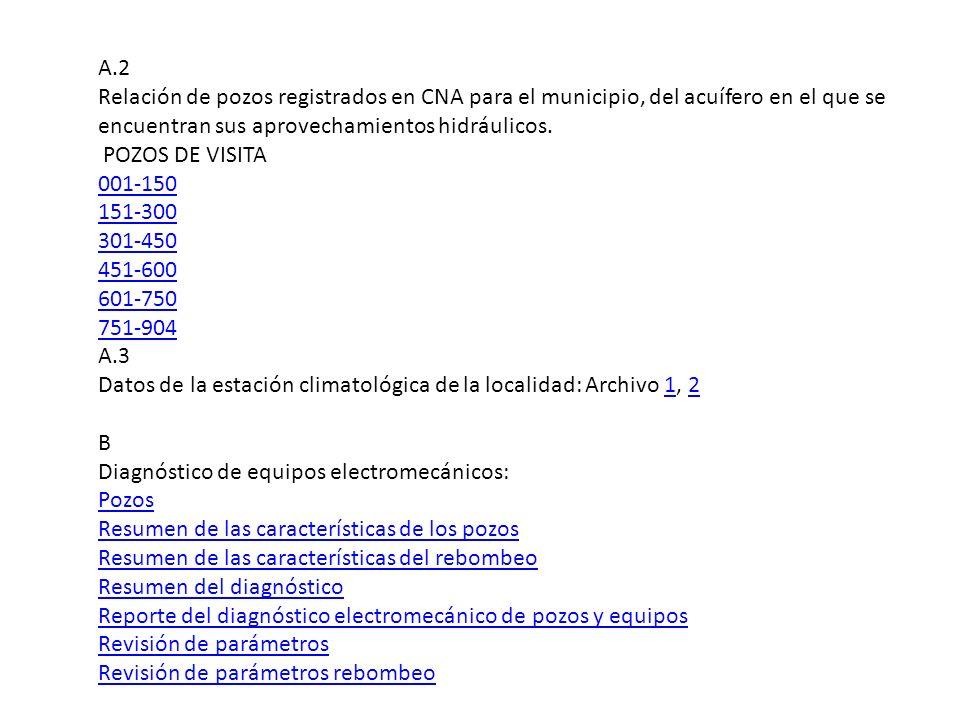 A.2 Relación de pozos registrados en CNA para el municipio, del acuífero en el que se encuentran sus aprovechamientos hidráulicos.