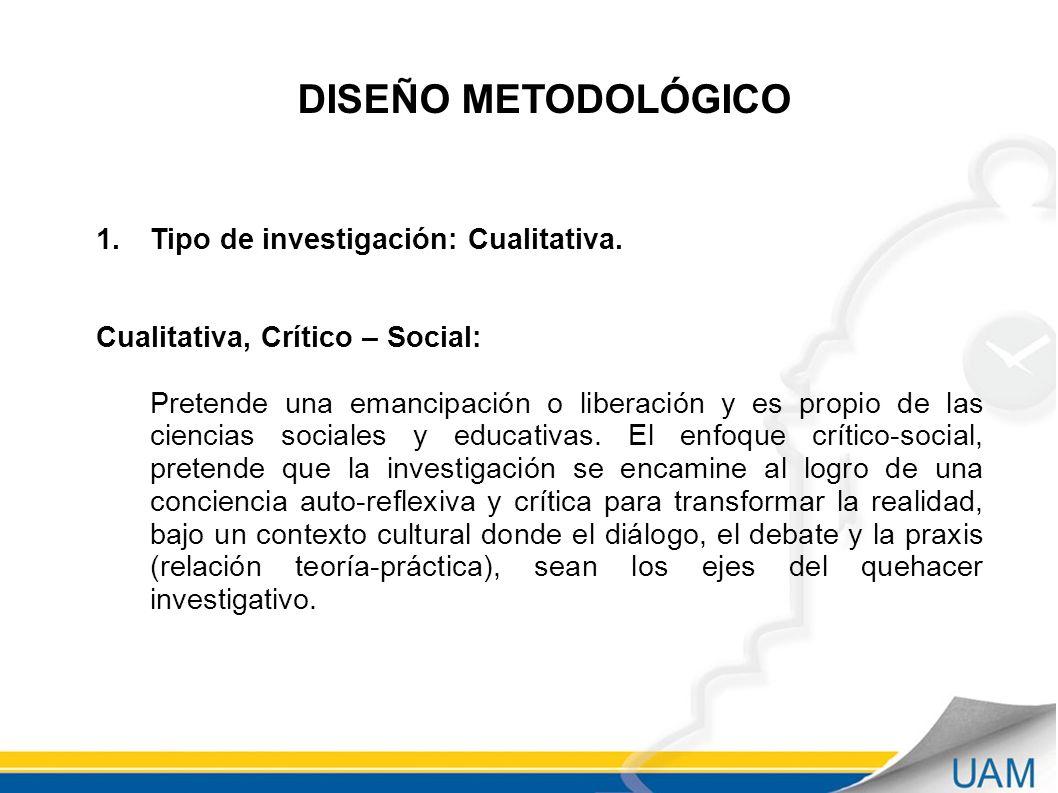 DISEÑO METODOLÓGICO Tipo de investigación: Cualitativa.